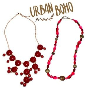 Red tone bubble beaded necklace bundle lot